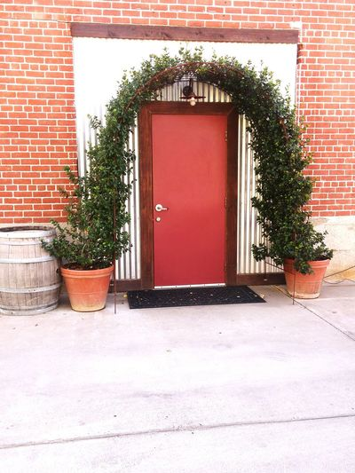 Garden . Built Structure Architecture Building Exterior Door Closed House Wall - Building Feature Potted Plant Plant Growth Brick Wall Day Red Entrance Outdoors No People Eye4photography  The Journey Is The Destination photo worthy YOLO ✌