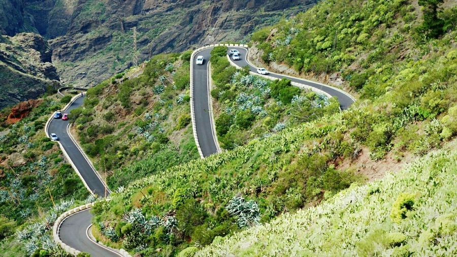 High Angle View Of Cars On Mountain Road