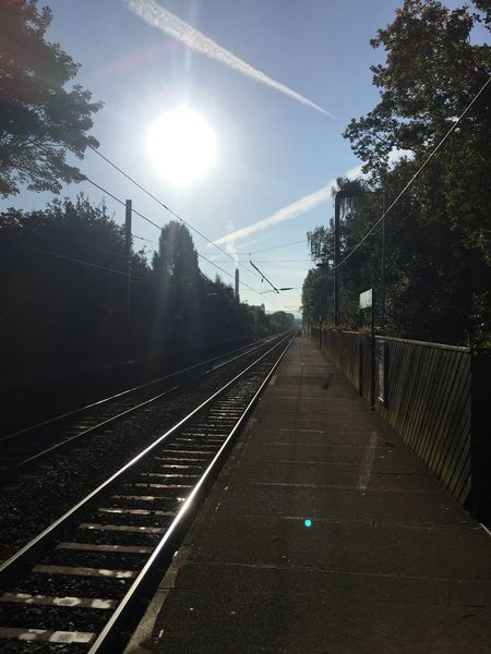 Railroad Track Sun Tree Transportation Sunlight Bright Rail Transportation Sunbeam The Way Forward Straight Diminishing Perspective Sky Day Railroad Station Platform Railroad Station Sunny Railway Station Lens Flare Outdoors Railway Track