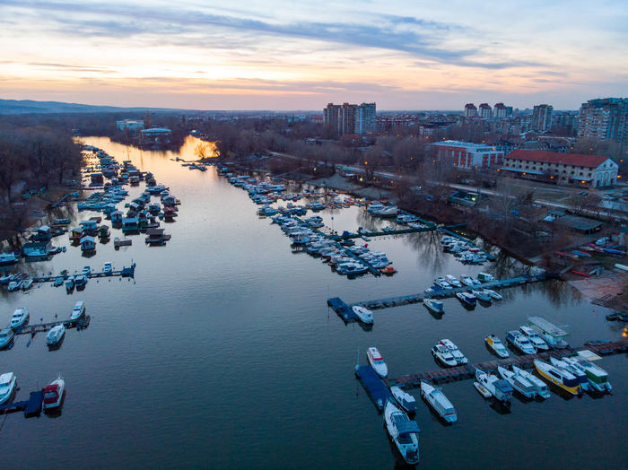 Novisad Water Architecture Building Exterior Nautical Vessel City Transportation High Angle View Sky Built Structure Sunset Nature Mode Of Transportation Cityscape Cloud - Sky Waterfront Building Sea Crowd Outdoors Office Building Exterior Danube Danube River
