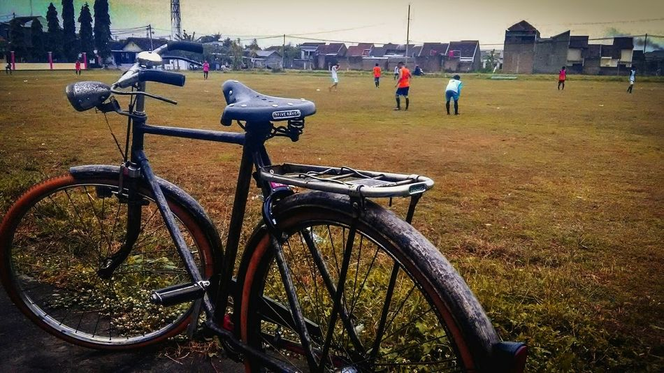 My bike is more classy than your motorcycle. 😂 Bike Bike Rider Soccer Game Stadium Field
