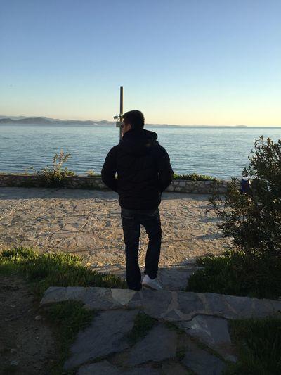 Körfezi Edremit Akçay Güre Water Sky Sea Rear View Real People Standing Full Length