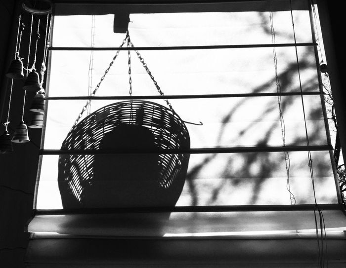 Window Shade Silhouette Black & White Light And Shadow Windchimes Minimalism IPhoneography
