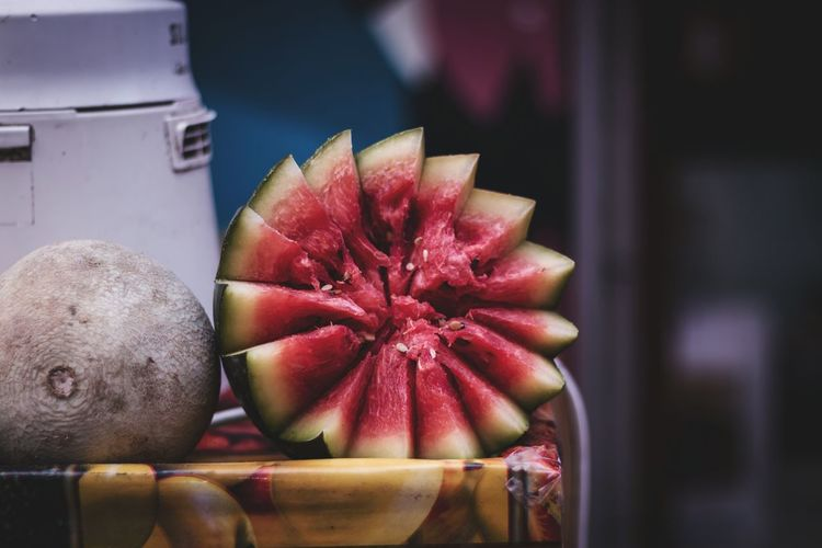 Watermelon art .. Red Freshness Fruit Healthy Eating No People Close-up Watermelon Art Cut Sale Market Taking Photos Tadaa Community Chennai Tamilnadu Exploring Streetphotography Nature Beauty In Nature Outdoors Selective Focus Fruits Eating Healthy Day Exposed