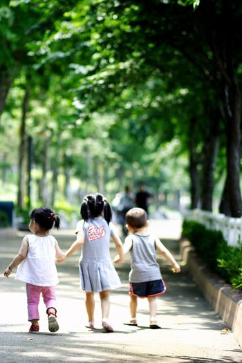 Girls Child Childhood Rear View Tree Togetherness Full Length Walking Casual Clothing Real People Day Outdoors Growth Nature Children Only Friendship People Adult I Want To Know Your Secret, C I Always Thinking About U, G Thank You,❤️ Thankyou 감사합니다