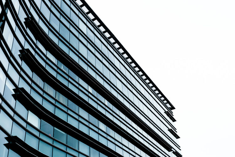 EyeEmNewHere Lieblingsteil Low Color Cancer Hospital Architecture Building Exterior Against Sky Black And White Contrast Connection Clear Sky Low Angle View Built Structure Architecture Outdoors No People Day Sky Nature Miles Away
