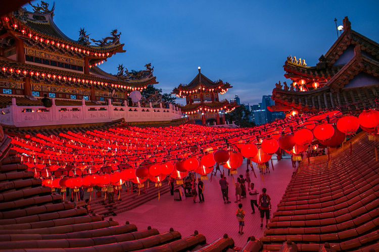 Thean Hou Temple decorated with red lanterns at Kuala Lumpur, Malaysia Chinese New Year 2018 Kuala Lumpur Malaysia  Lantern Blue Sky Cultures Landscape' Light And Shadow Red Lanterns Religion Religous Thean Hou Temple (天后宫)