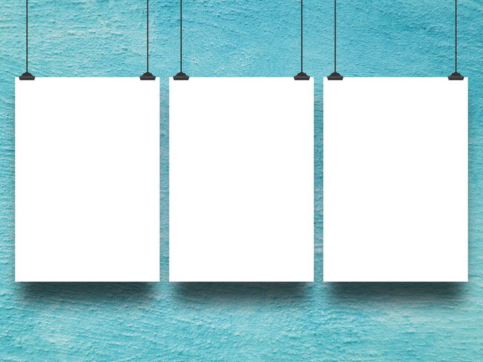 Three blank frames against turquoise plastered wall background Aqua Architecture Backgrounds Blank Blue Built Structure Close-up Concrete Copy Space Day Empty Frame Geometric Shape Hanging Indoors  No People Pattern Side By Side Textured  Three Turquoise Colored Wall Wall - Building Feature White Color