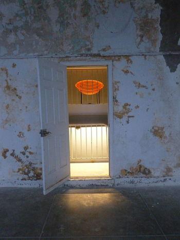Architecture Day Door Door Doorway Entry Indoors  Lit Hallway No People Old Exterior Open Door Orange Chair Pealing Paint White Paint