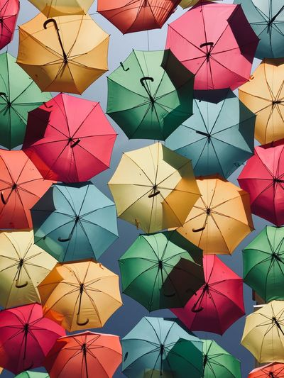 The art of umbrellas Portugal Agueda Artistic Looking Up Umbrellas Art Display Colorful Outside Outdoor Photography Composition Day Outdoors No People EyeEm Ready   Colour Your Horizn