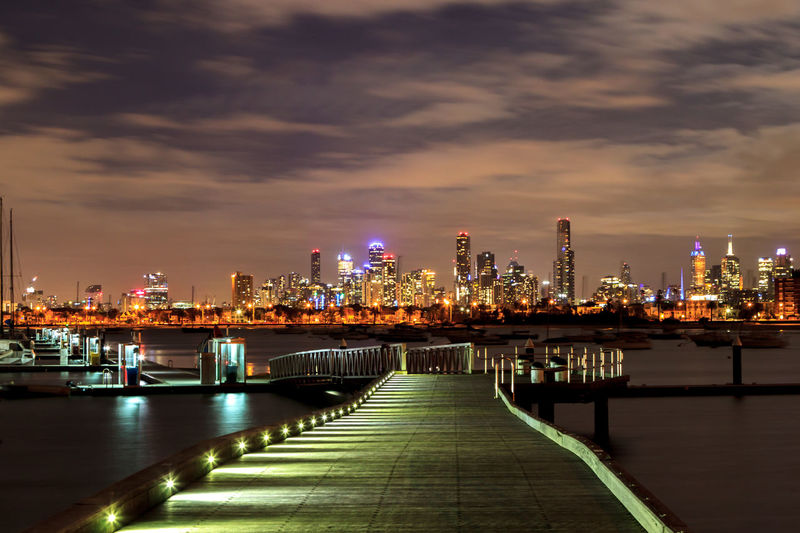 Downtown Melbourne from St Kilda Pier Architecture Bridge - Man Made Structure City City Street Cityscape Downtown District Extended Exposure Eye4photography  EyeEm Best Shots Illuminated Modern Night No People Outdoors Sky Skyscraper St Kilda Travel Travel Destinations Urban Skyline Neighborhood Map