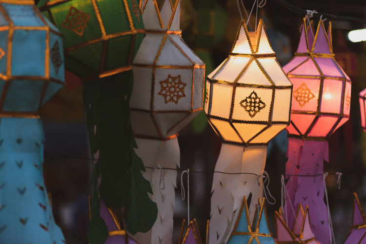 Lanna style colorful lamp with beautiful light illuminates Hanging Decoration Travel Tourist Tourism Thailand Temple Symbol Religion North Thailand Lantern Festival Lanna Lamp Handmade Culture Colorful Asian  Aisle Abstract