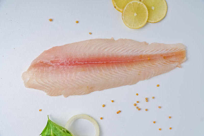 High angle view of fish on white background