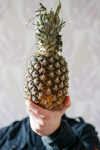 Pineapple Close-up Human Hair Fruit Human Body Part Adults Only Nature People Portrait Beauty In Nature One Man Only Funny Fun Pineapple Head Shy Vegan Vegetarian