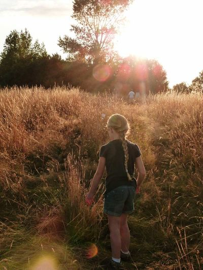 Grass Field Real People Nature Sunset Outdoors Little Girl Sunny Day