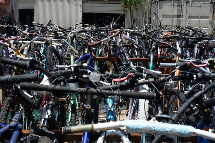 Steel Abundance Backgrounds Bicycle Blue City Life Close-up Day Full Frame In A Row Land Vehicle Large Group Of Objects Machine Part Mode Of Transport No People Outdoors Parked Parking Parking Lot Part Of Stationary