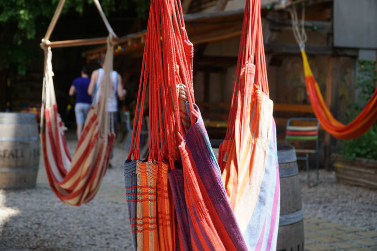 hanging around Close-up Colorful Focus On Foreground Hammock Multi Colored Red Rope Tied Up Eye4photography  The Essence Of Summer My Favorite Place The Color Of School Focus Object Maximum Closeness #FREIHEITBERLIN