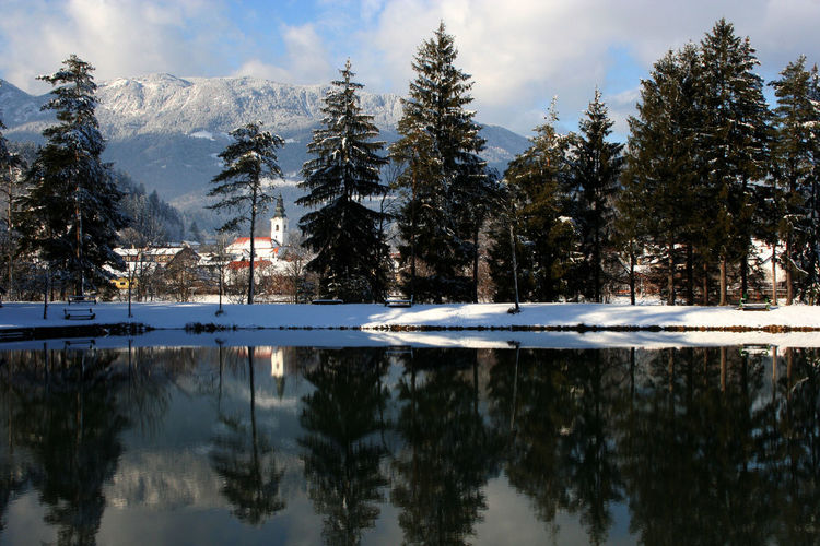 lovely day by the lake Beauty In Nature Church Cloud - Sky Lake Mountain Nature Outdoors Reflection Sky Snow Tourism Tranquil Scene Tranquility Tree Water Waterfront Winter Wintertime