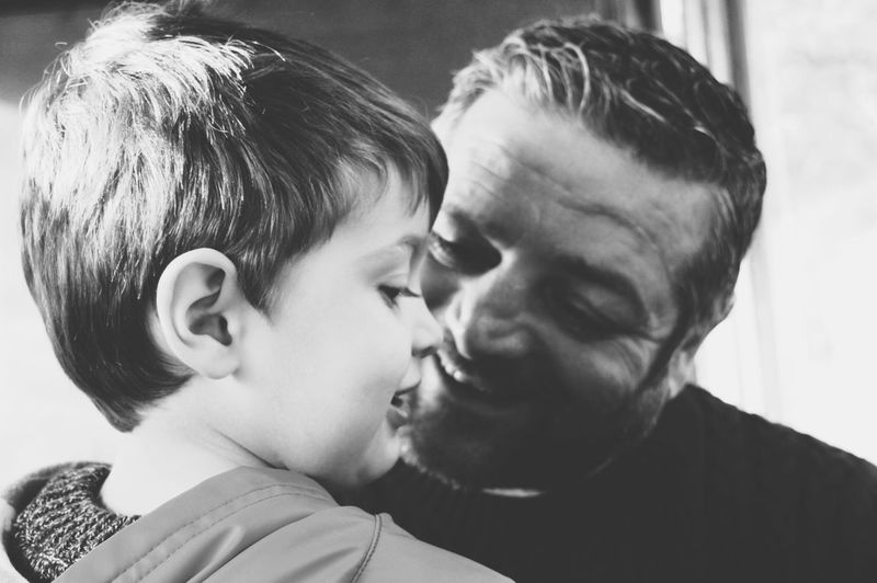 natural moment Blackandwhite Photography Blackandwhite Black And White Portrait Father & Son Two People Headshot Togetherness Adult Adults Only Men Heterosexual Couple Human Face Happiness Love Males  Bonding Smiling People Family With One Child Real People Father Family