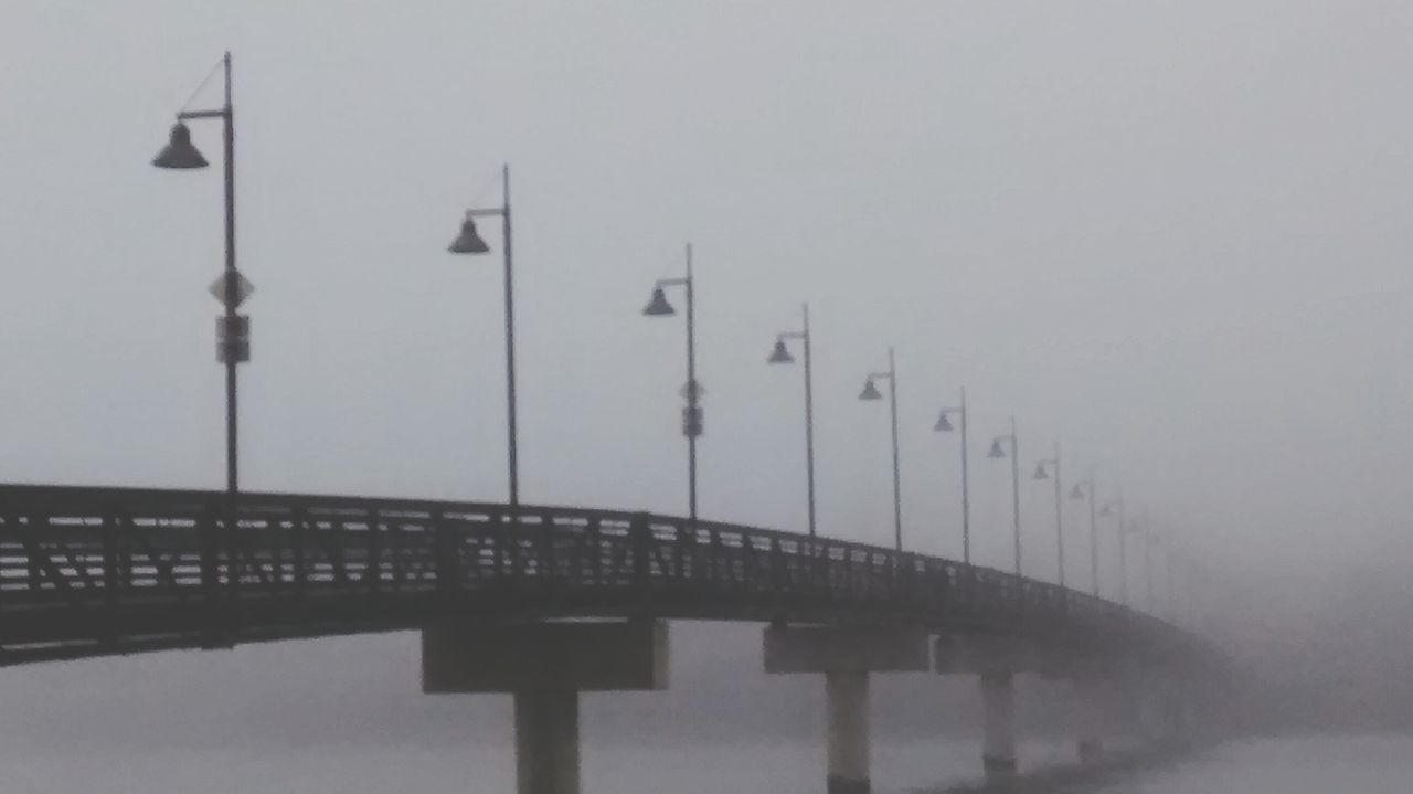bridge - man made structure, built structure, architecture, no people, outdoors, water, nature, fog, cold temperature, winter, day, sky
