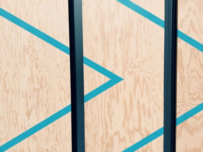 Arrow Symbol Pastel Power Wood - Material Panel Blue Line Tryptic Nude Wood Beautifully Organized Enjoy The New Normal Finding New Frontiers Adapted To The City Geometric Shape Minimalist Architecture Neon Life