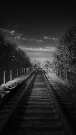The Impurist Black And White Railways_of_our_world Bridge View In The Distance Wrong Side Of The Tracks Leavin' On A Southern Train Trees And Clouds Eye Am Nature Darkness And Light My Bw Obsession