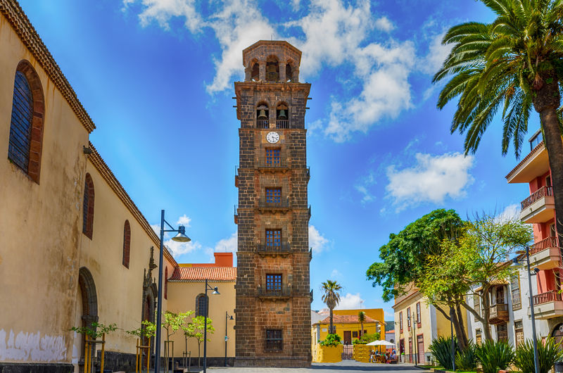 Teneriffa, Kanarische Inseln Architecture Bell Tower Blue Building Exterior Built Structure Clock Clock Tower Cloud - Sky Day La Laguna Baeza Low Angle View No People Outdoors Place Of Worship Religion Sky Spirituality Tenerife Tower Tree