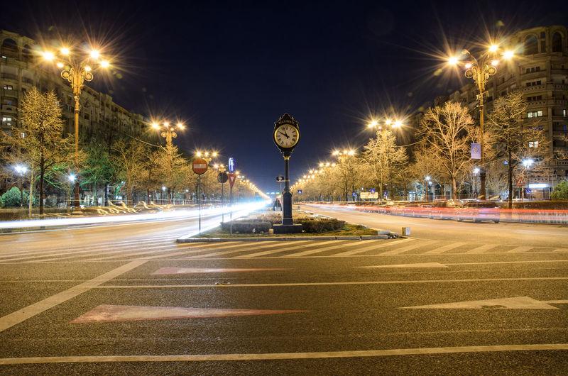 Abstract Light Long Exposure Light Trail Night City Bucharest Romania