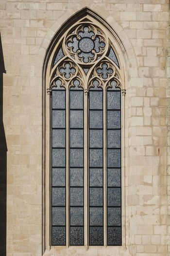 View of ornate window on wall of building