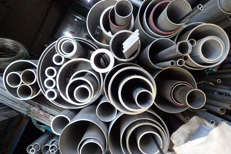 Stack of pipes in factory