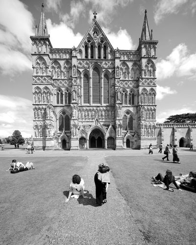 Staring At The Door Cathedral Salisbury Cathedral  Architecture Belief Black And White Blackandwhite Building Building Exterior Built Structure Gothic Style Group Of People History Place Of Worship Religion Spirituality The Past Travel Destinations