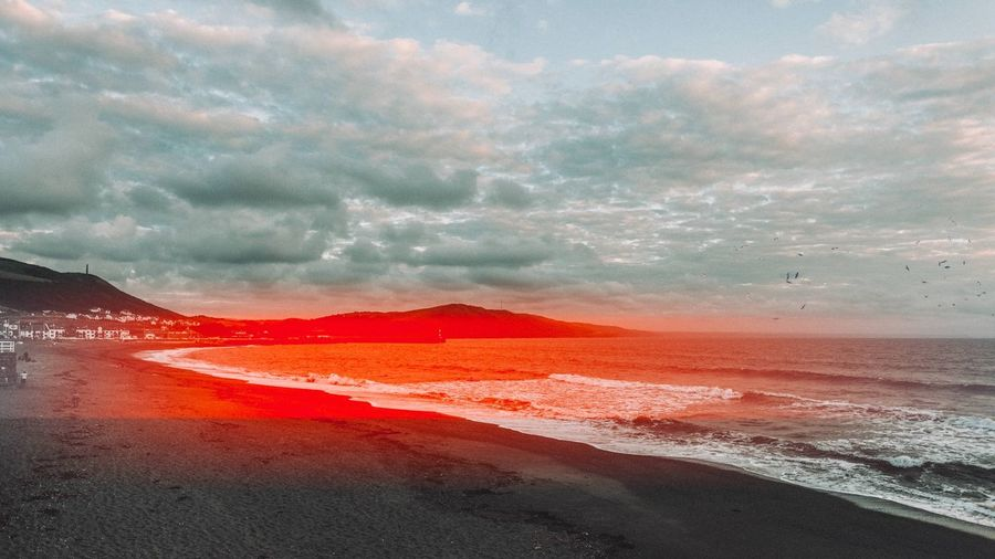 Looks like a digital image made up to look like film Beauty In Nature Sky Nature Cloud - Sky Scenics Tranquility No People Tranquil Scene Outdoors Mountain Water Day Landscape Power In Nature Sunset Sea