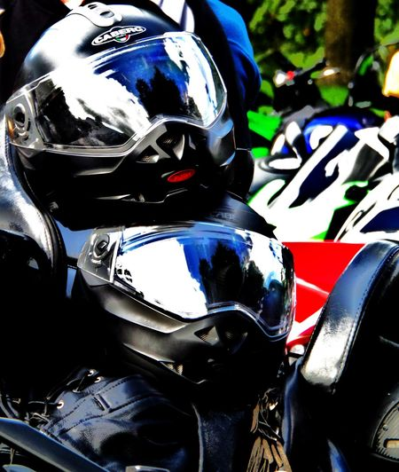 Black. Copy Space. Couple. Leisure Activity. Motorcycle Helmets No People. Beauty In Nature Diamond Pattern Reflections... Stacked. Two Black Motorcycle Helmets. Two Helmets. Visors.