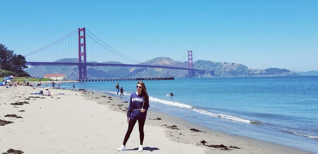 Now you sea me. Blue Sky Feminist Asian Woman Optimism When In California San Francisco Bridge San Francisco Bay Water City Sea Clear Sky Full Length Beach Young Women Suspension Bridge Sand Bridge - Man Made Structure Seascape