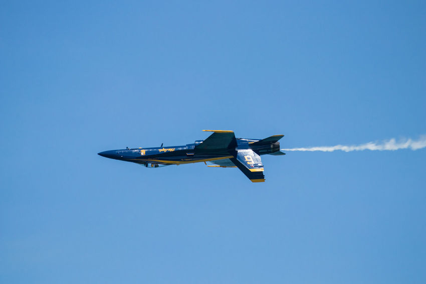 Navy Blue Angels Aerobatics Air Force Air Vehicle Airplane Blue Clear Sky Copy Space Day Fighter Plane Flying Low Angle View Mid-air Military Military Airplane Mode Of Transportation Motion Nature No People on the move Outdoors Plane Sky Transportation Vapor Trail