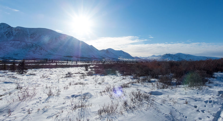 Beauty In Nature Brightness Canada Cold Temperature Day Frozen Ice Landscape Landscape #Nature #photography Landscape_Collection Landscape_photography Lens Flare Mountain Mountain Range Nature No People Outdoors Panorama Sky Snow Snowcapped Mountain Sun Sunlight Winter Yukon Territory