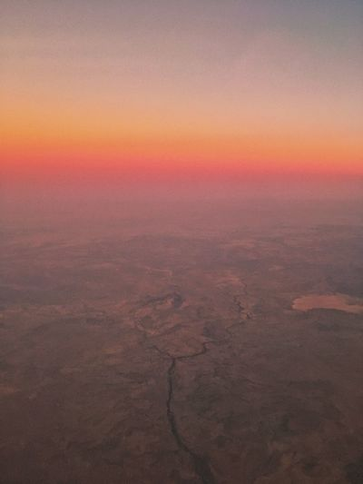 Aerial view from airplane, South Africa. Aerial Photography Aerial View Cloudless Sky Dusk Flat Landscape Golden Hour Landscape Pink Hues River Sky View