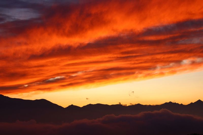 Mountain Sunset Dramatic Sky Nature Beauty In Nature Landscape Scenics Outdoors Silhouette No People Tranquility Travel Destinations Fog Red Sky Beauty Day