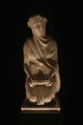 Art Creativity Dark Monti Ornate Raffaele Monti Statue Veiled Vestal at Chatsworth House