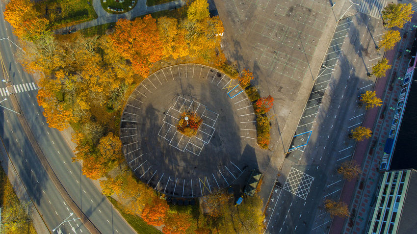 Aerial Photography Aerial View Autumn City Day Finland Fromabove High Angle View Instagood No People Park Parking Photooftheday Salo Suomi Tree Trees