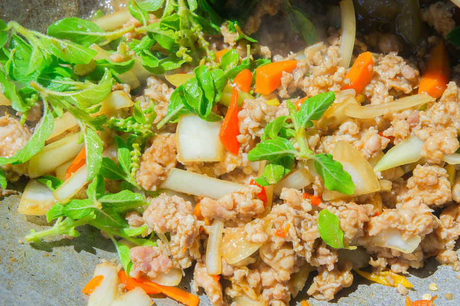 Cooking Stir Fried Pork in Hot Pan Close-up Day Food Food And Drink Freshness Fried Rice Healthy Eating High Angle View Indoors  No People Ready-to-eat