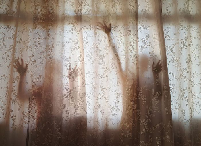 They, who wants to break free Frosted Glass Curtain Glass - Material Backgrounds Window Drop Condensation Indoors  Textured  Pattern Full Frame Wet Water Horror Drapes  Close-up Shadow Only Women Shower One Person