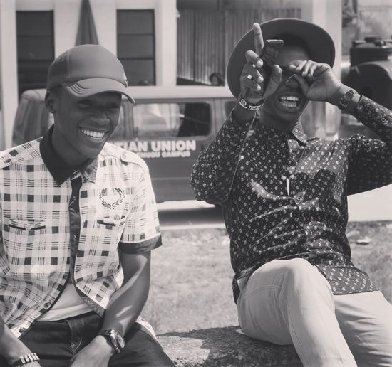 Friends are for refreshment. 😀 Sitting Happiness Friendship Leisure Activity Outdoors Lifestyles Men Smiling Cheerful People Togetherness Enjoyment Two People Fun Laughter Feeds The Soul Africa
