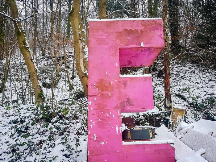 Letter E Letter Letters Typography Pink Pink Colour Text E Capital Letter Woods Abandoned Snow Nature Winterwonder Snowy Snowscene Christmas December Snowcovered Yorkshire Calderdale Landscape No People Day Communication Outdoors Pink Color Backgrounds Full Frame Shades Of Winter A New Perspective On Life