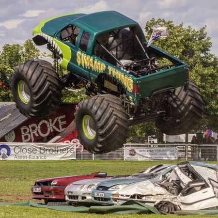 Monster Trucks Transportation Mode Of Transport Land Vehicle Car Motor Vehicle Outdoors Stationary Day Parked Man Made Object The Past Swampthing
