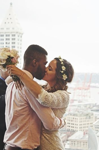 Capture The Moment the first kiss as man & wife. After years of long distance and applying for a visa, all that matters is these across the pond lovers share this Kiss. Marriage  Tieing The Knot Long Distance Lovers London To Seattle Visa Love Above All