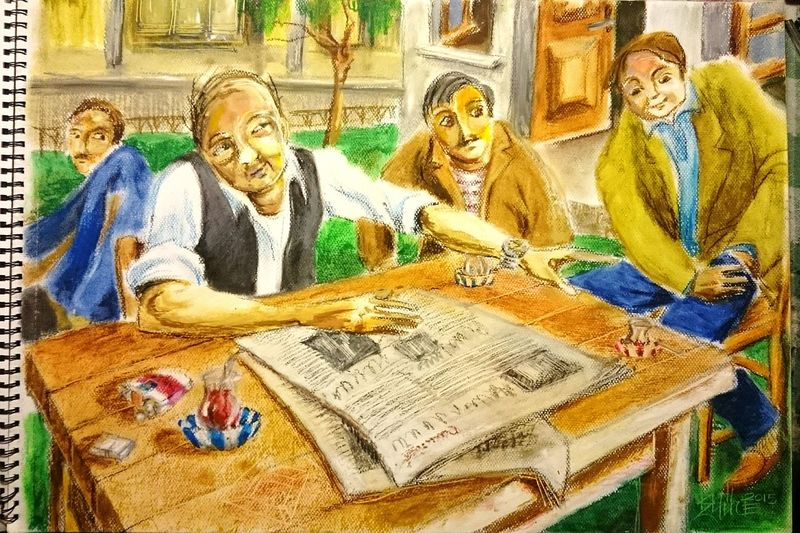 Cafe Tea Cofee Friends Garden Chat Oilpastel Scetch Turkishcoffee Hanging Out