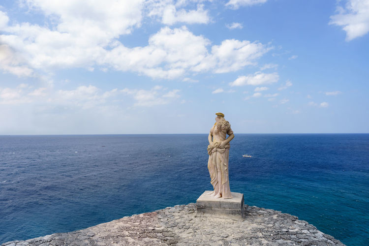 Grecian style statue on cliff Art Art And Craft ASIA Batangas Beauty In Nature Cliff Cloud - Sky Day Deep Fortune Island Grecian Greek Horizon Over Water Nasugbu Nature Outdoors Philippines Scenics Sculpture Sea Sky Statue Summer Water Woman