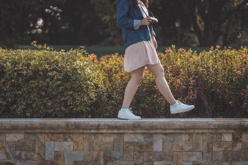Low Section Golfer Tree Child Young Women Standing Sport Human Leg Women Sky Shoe