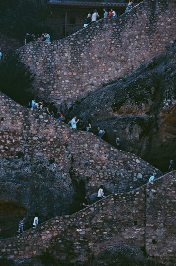 High angle view of old stone wall